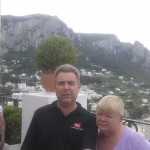 Here we are on the Isle of Capri. It's a bit glarey, hence the squints.