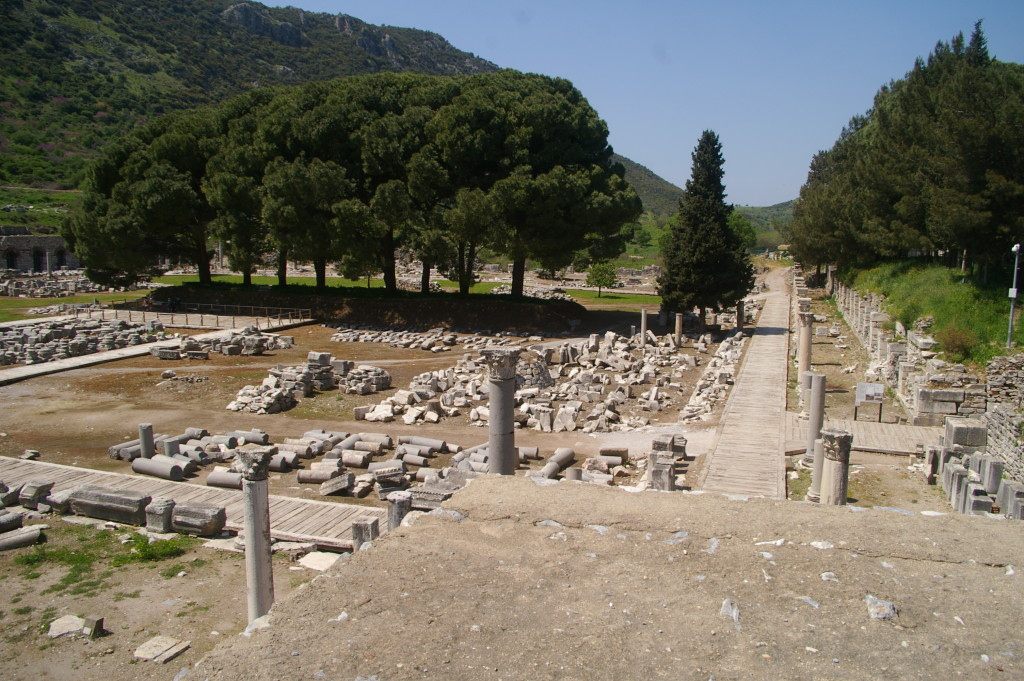 Fragments of columns awaiting reconstruction