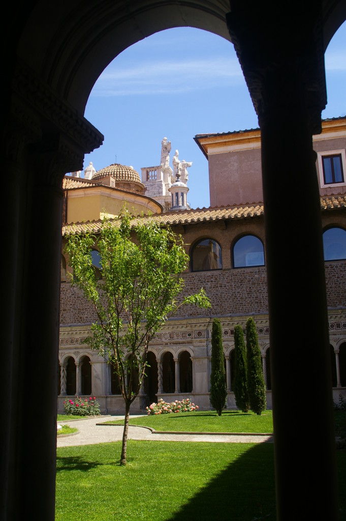 View of the top of the basilica from the cloister, which is mainly an exhibition of older relics and pieces removed from the main cathedral during renovations over the last 700 years.